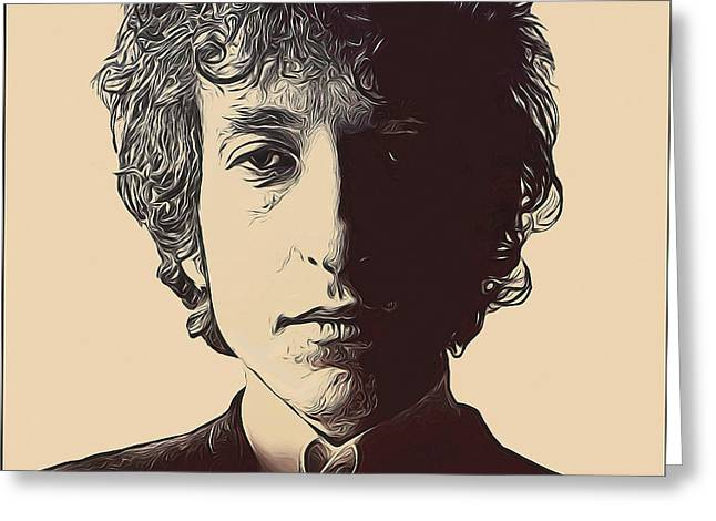 Bob Dylan Greeting Card by Alexey Bazhan