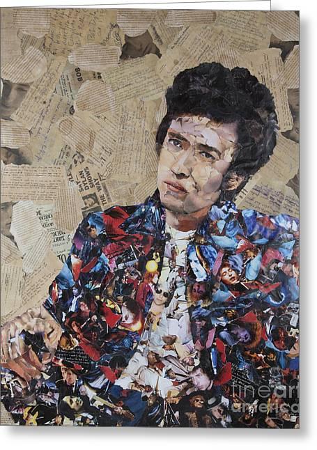 Bob Dylan Collage Greeting Card by John Kerr