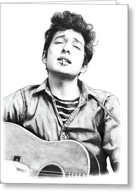 Bob Dylan Drawing Art Poster Greeting Card by Kim Wang