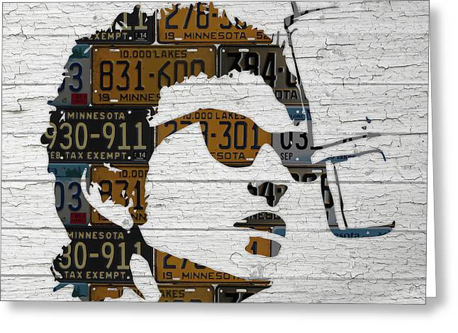 Bob Dylan Minnesota Native Recycled Vintage License Plate Portrait On White Wood Greeting Card by Design Turnpike