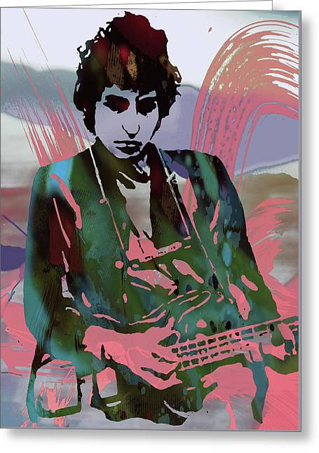 Bob Dylan Modern Etching Art Poster Greeting Card by Kim Wang