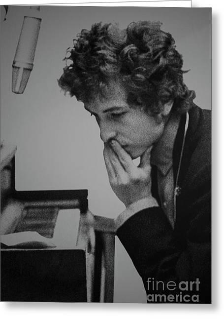 Bob Dylan Pensive Greeting Card