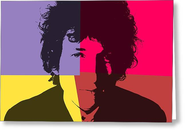 Bob Dylan Pop Art Panels Greeting Card by Dan Sproul