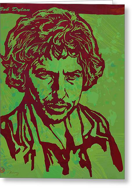 Bob Dylan Pop Art Poser Greeting Card by Kim Wang