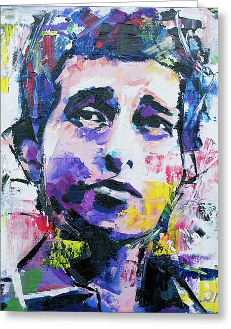Bob Dylan Portrait Greeting Card by Richard Day