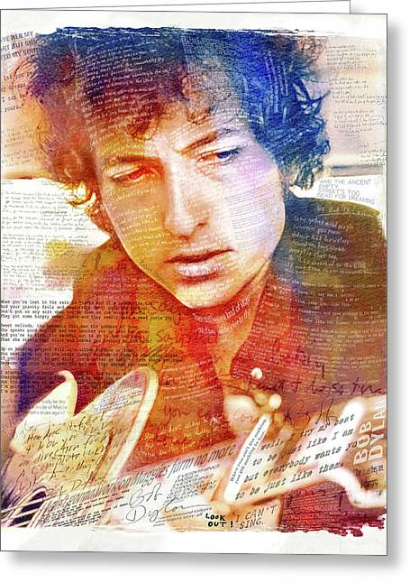 Bob Dylan Songwriter Greeting Card by Mal Bray