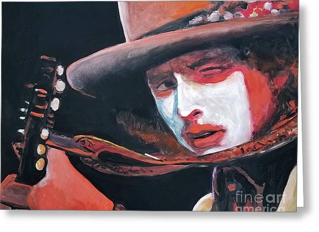 Bob Dylan Greeting Card by Tom Carlton