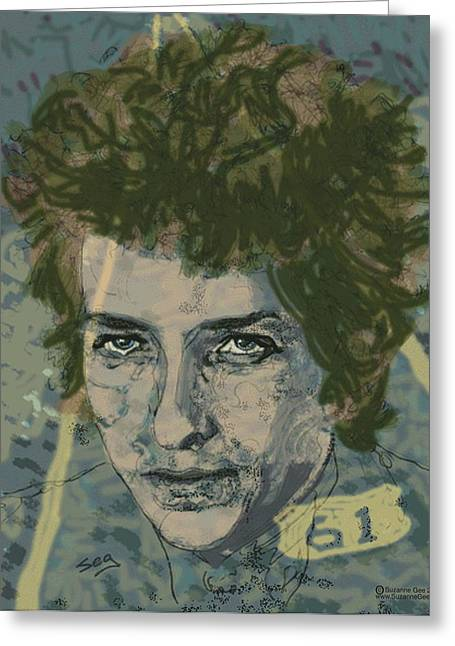 Bob Dylan's Highway 61 Greeting Card by Suzanne Gee