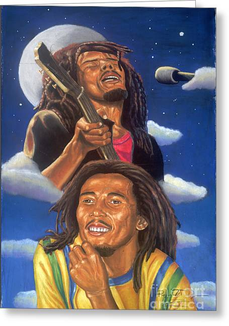 Bob Marley A Reflection Of  His Music Greeting Card by Sandra Pryer