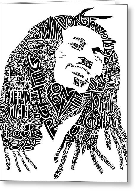 Bob Marley Black And White Word Portrait Greeting Card