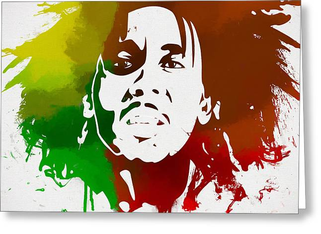 Bob Marley Colors Greeting Card by Dan Sproul