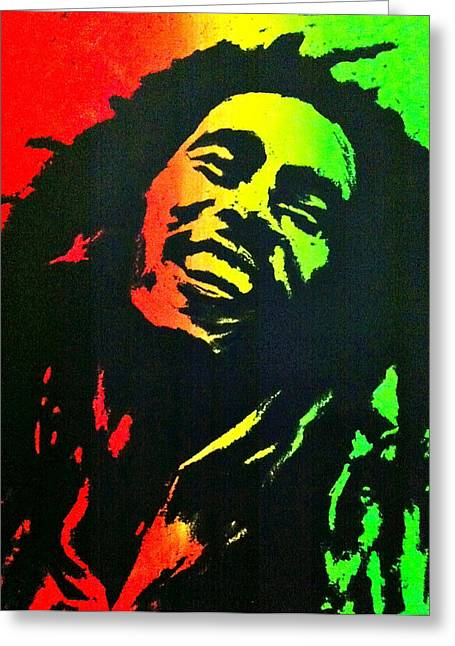 Silk Screen Greeting Cards - Bob Marley Smile Greeting Card by Siobhan Bevans