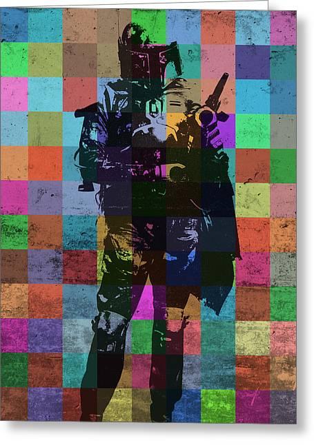 Boba Fett Bounty Hunter Pop Art Portrait Greeting Card by Design Turnpike