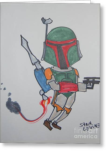 Boba Fett Caricature Greeting Card by Stan Levine