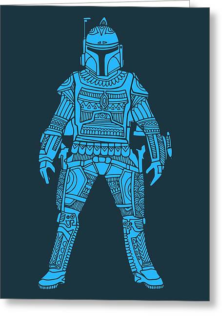 Boba Fett - Star Wars Art, Blue Greeting Card