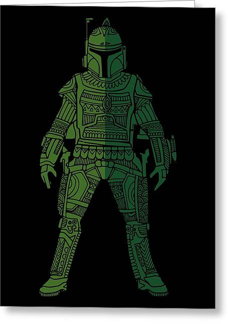 Boba Fett - Star Wars Art, Green 02 Greeting Card