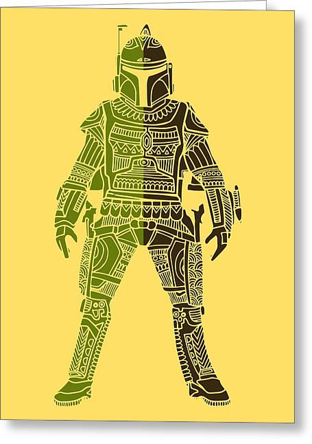Boba Fett - Star Wars Art, Green 03 Greeting Card