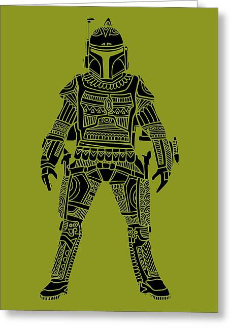 Boba Fett - Star Wars Art, Green Greeting Card