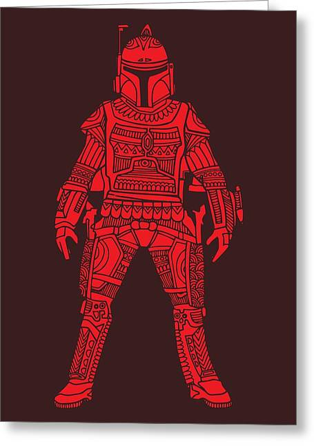 Boba Fett - Star Wars Art, Red Greeting Card