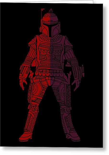 Boba Fett - Star Wars Art, Red Violet Greeting Card