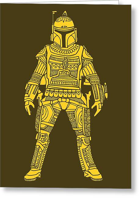 Boba Fett - Star Wars Art, Yellow Greeting Card