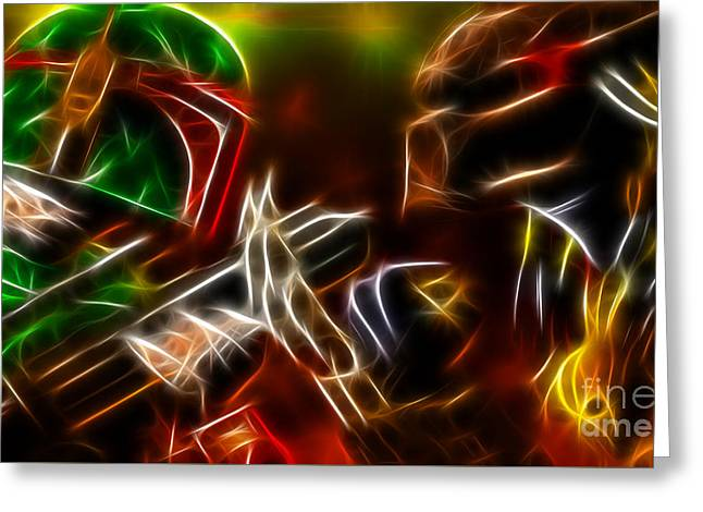 Boba Fett Vs Predator Greeting Card by Pamela Johnson