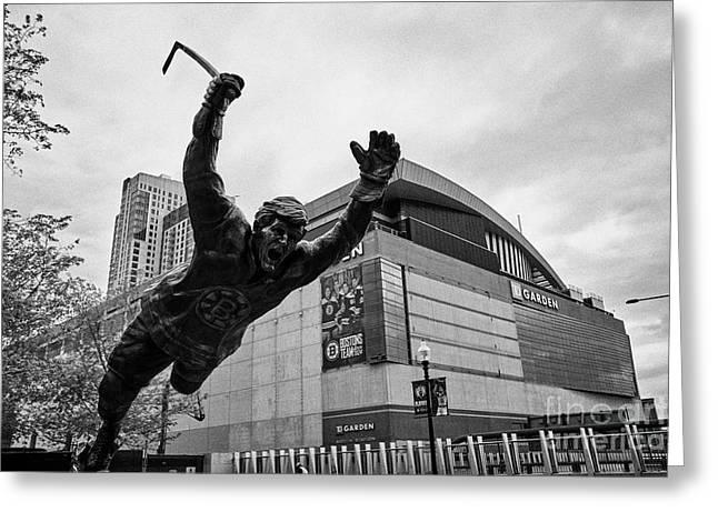 bobby orr statue outside TD garden arena home to the boston bruins and boston celtics Boston USA Greeting Card