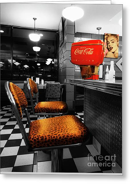 Bobby Sox 50's Diner 2 Greeting Card by Bob Christopher