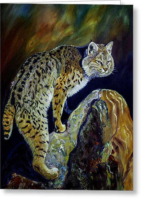 Bobcat At Sunset Original Oil Painting 16x20x1 Inch On Gallery Canvas Greeting Card by Manuel Lopez