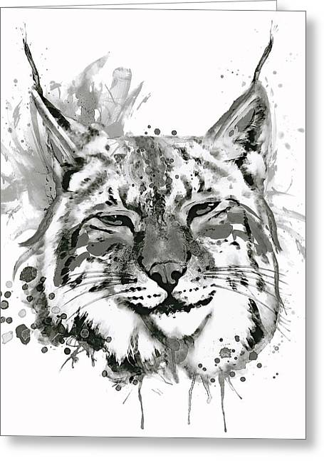 Bobcat Head Black And White Greeting Card by Marian Voicu