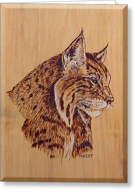 Greeting Card featuring the pyrography Bobcat by Ron Haist