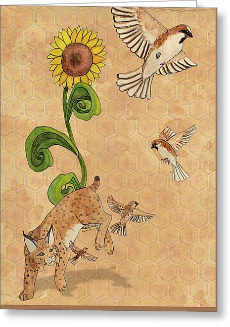 Bobcats And Beeswax Greeting Card by Teighlor Chaney