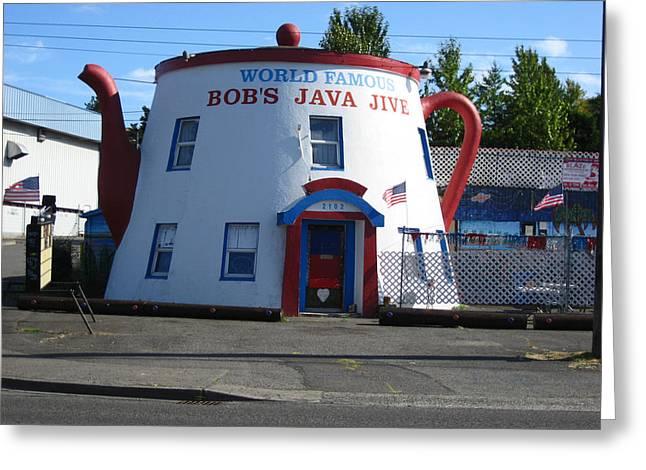 Bob's Java Jive Coffee Pot Greeting Card