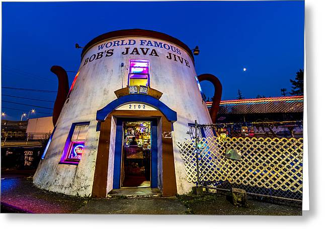 Bob's Java Jive - Historic Landmark During Blue Hour Greeting Card