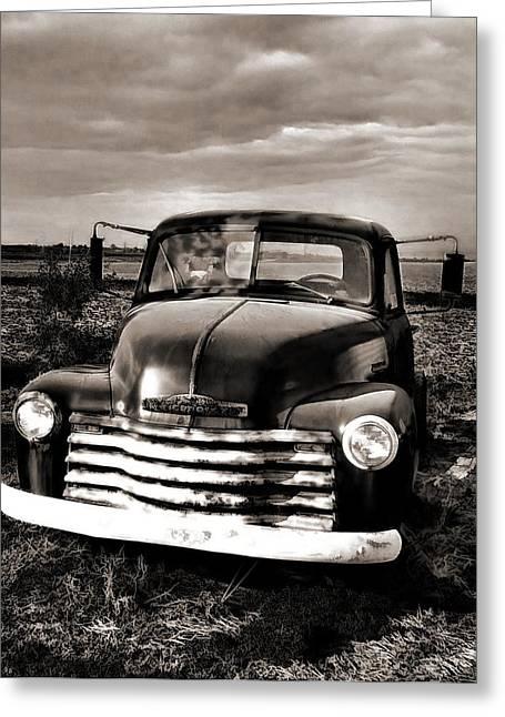 Bob's Truck In B/w Greeting Card by Julie Dant