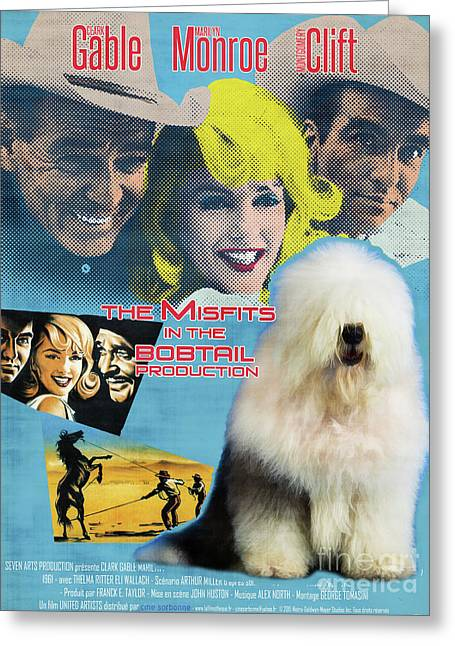 Bobtail -  Old English Sheepdog Art Canvas Print - The Misfits Movie Poster Greeting Card