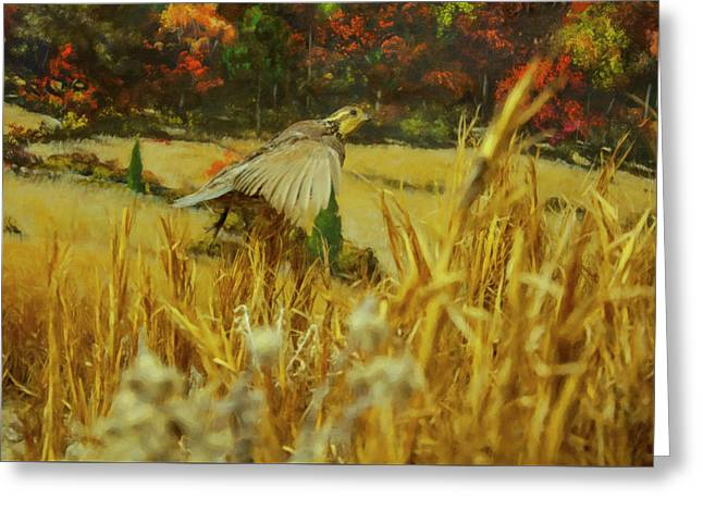Greeting Card featuring the digital art Bobwhite In Flight by Chris Flees