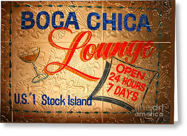 Boca Chica Lounge Sign Stock Island Florida Keys Greeting Card