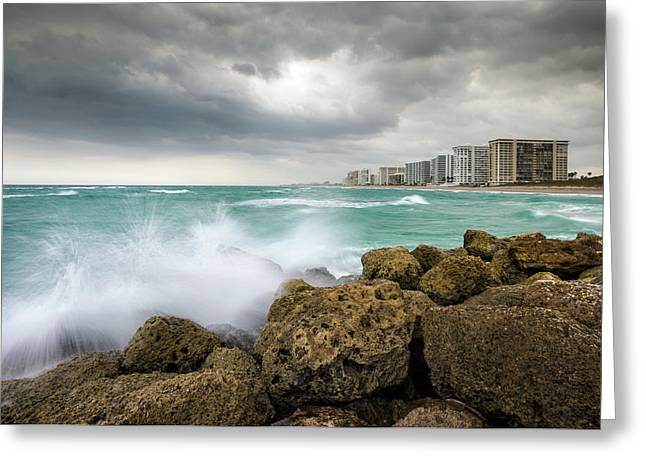 Boca Raton Florida Stormy Weather - Beach Waves Greeting Card by Dave Allen