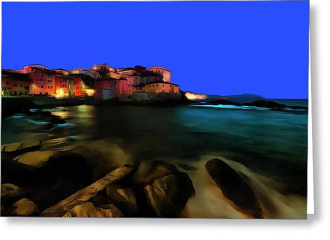Boccadasse By Night Paint Greeting Card
