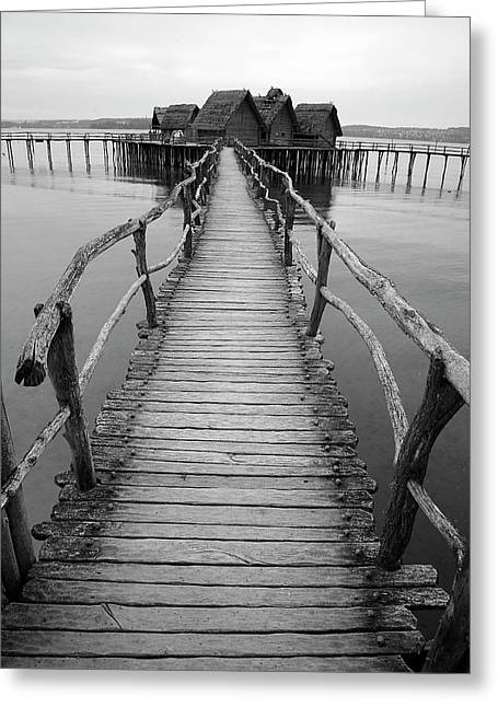Bodensee Walkway B And W Greeting Card