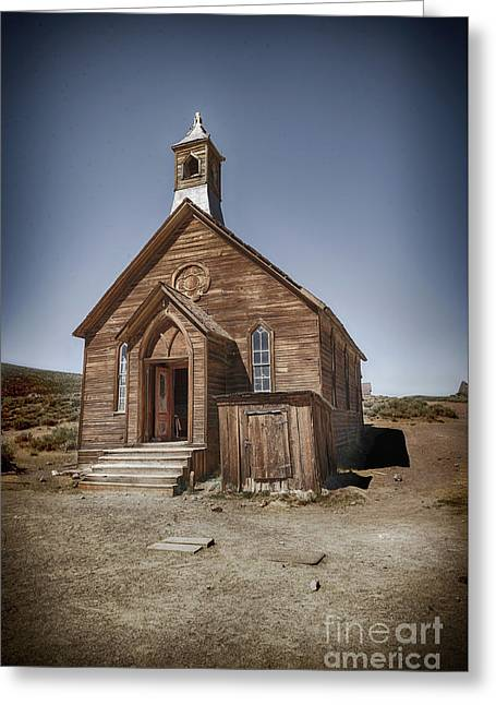 Greeting Card featuring the photograph Bodie Church by Jim  Hatch