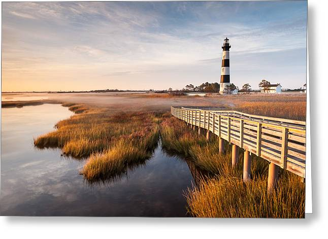 Bodie Island Lighthouse Autumn Coastal Marsh Greeting Card by Mark VanDyke