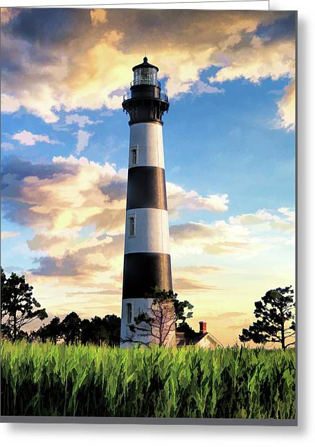 Greeting Card featuring the painting Bodie Island Lighthouse by Christopher Arndt