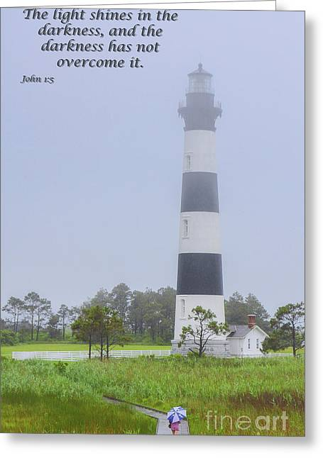 Bodie Island Lighthouse Scripture Verse Greeting Card by Randy Steele