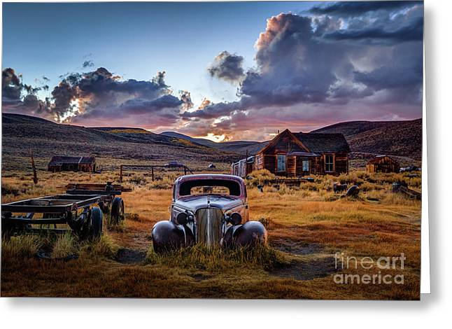 Bodie's 1937 Chevy At Sunset Greeting Card