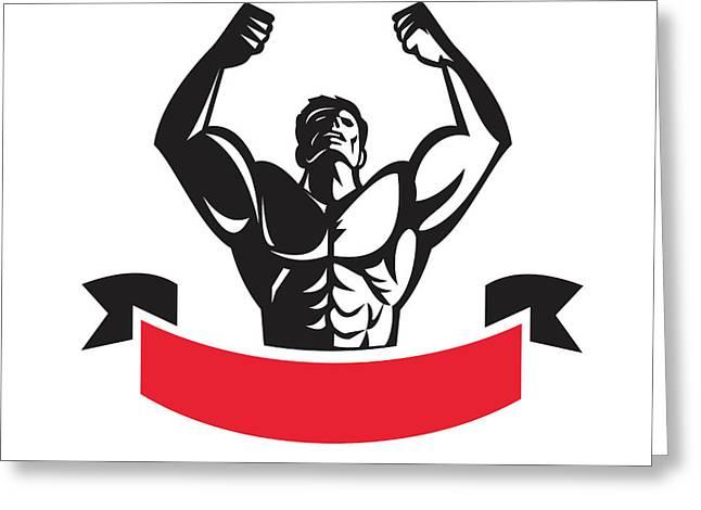 Body Builder Flexing Muscles Banner Retro Greeting Card by Aloysius Patrimonio