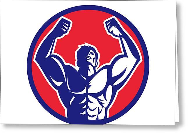 Body Builder Flexing Muscles Circle Retro Greeting Card by Aloysius Patrimonio