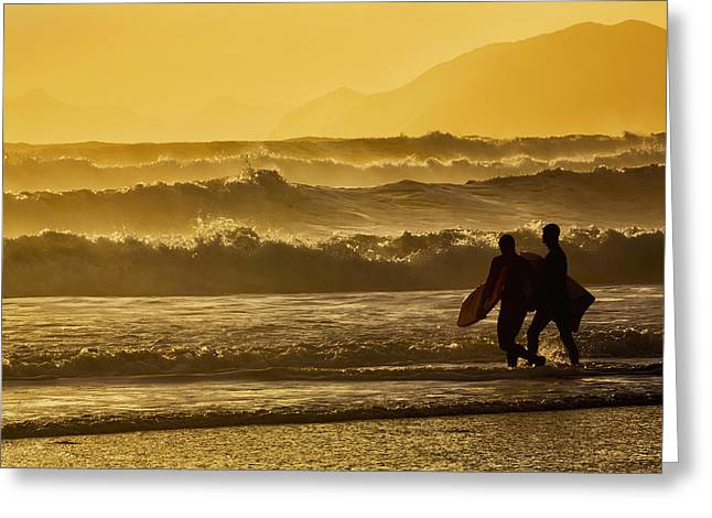 Body Surfers Walk In The Water Greeting Card by Marion Owen