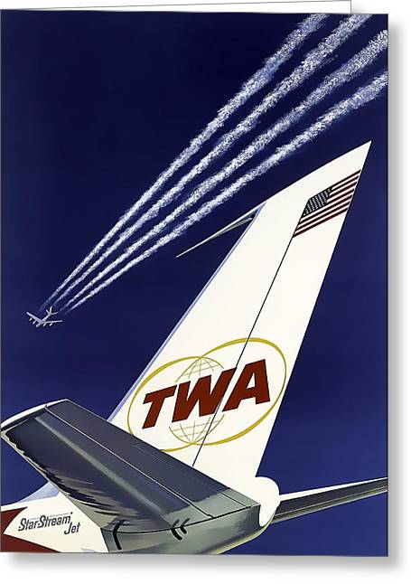 Boeing 707 Trans World Airlines C. 1960 Greeting Card